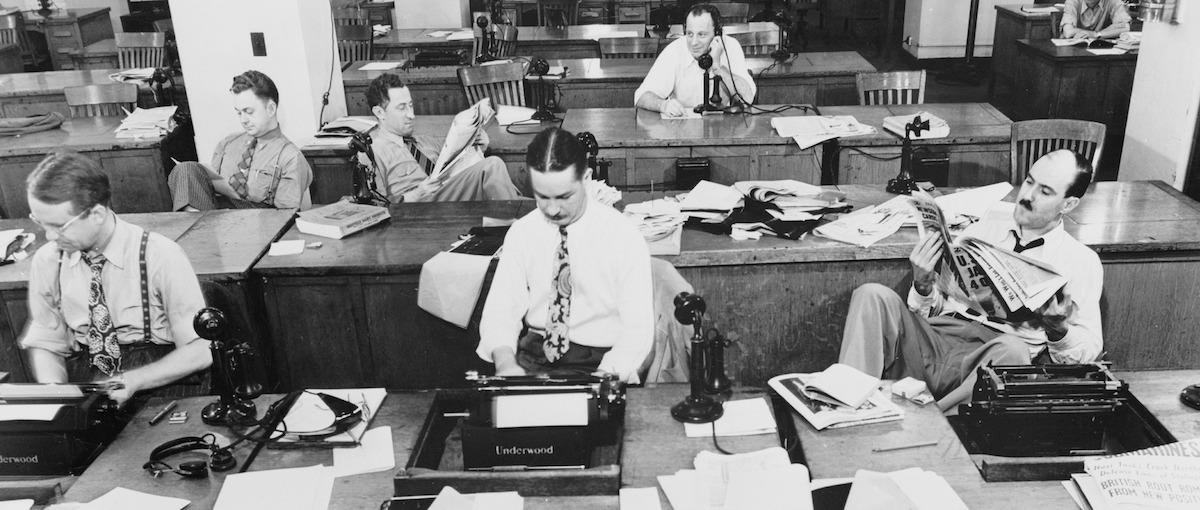 Historic image of a newsroom