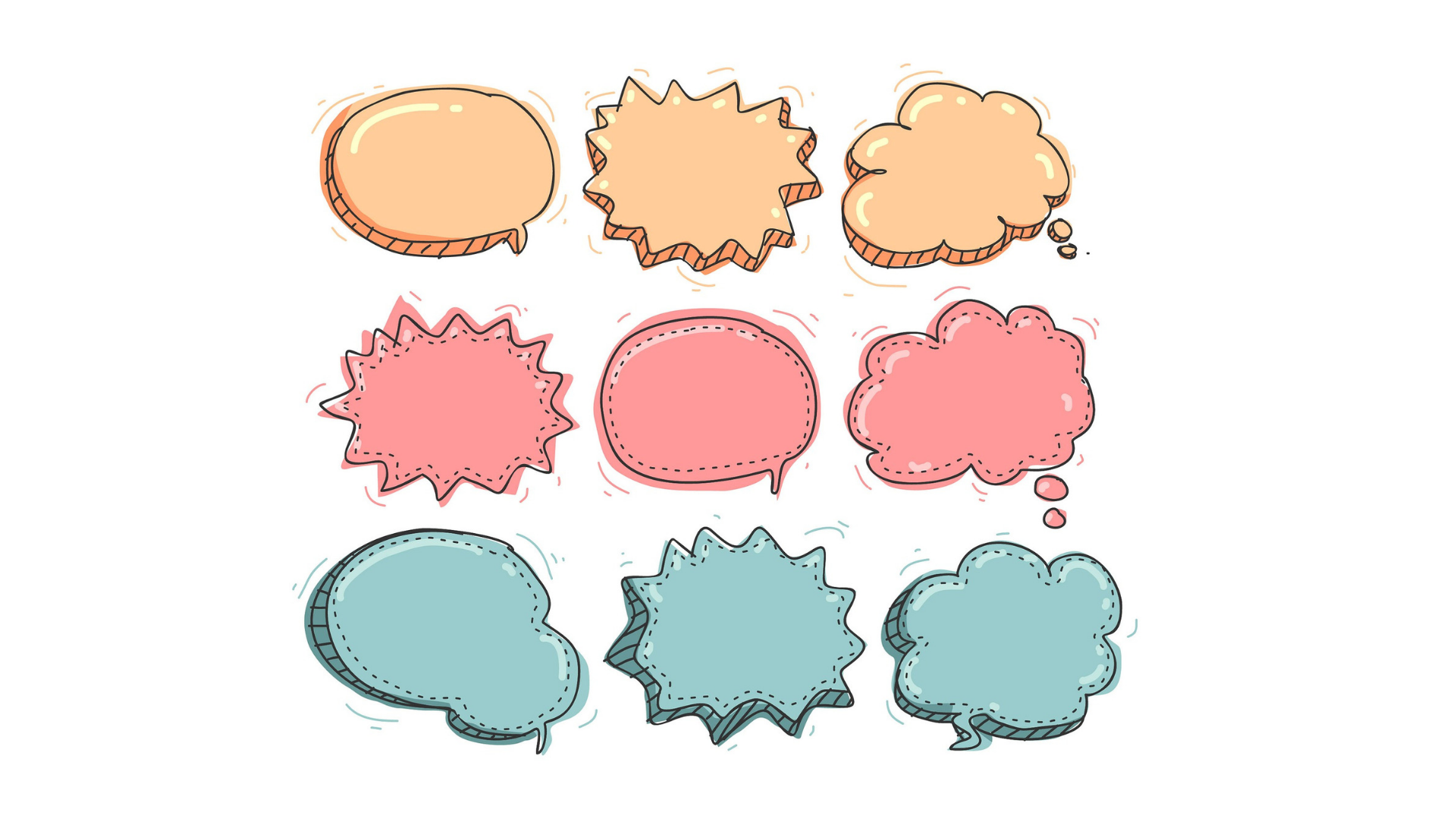 Colourful speech and thought bubbles